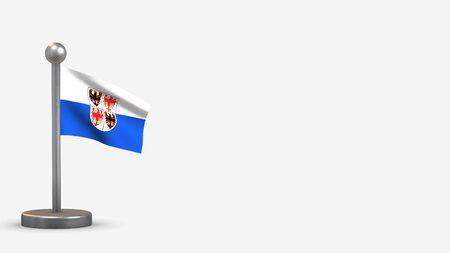 Trentino-South Tyrol 3D waving flag illustration on a tiny metal flagpole. Isolated on white background with space on the right side. Stock Photo