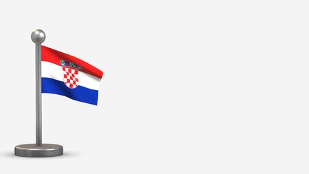 Croatia 3D waving flag illustration on a tiny metal flagpole. Isolated on white background with space on the right side.