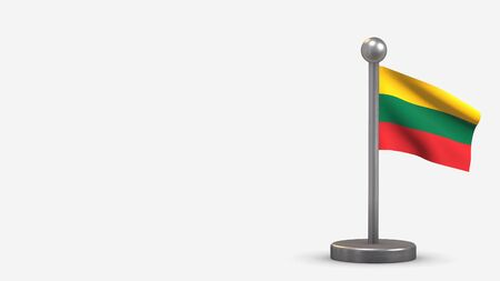 Lithuania 3D waving flag illustration on a tiny metal flagpole. Isolated on white background with space on the left side. 스톡 콘텐츠