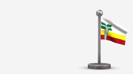 Franco-Manitobains 3D waving flag illustration on a tiny metal flagpole. Isolated on white background with space on the left side.