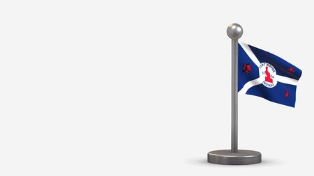 Fort Wayne Indiana 3D waving flag illustration on a tiny metal flagpole. Isolated on white background with space on the left side. 스톡 콘텐츠