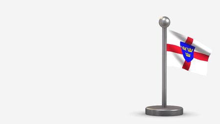 East Anglia 3D waving flag illustration on a tiny metal flagpole. Isolated on white background with space on the left side.