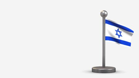 Israel 3D waving flag illustration on a tiny metal flagpole. Isolated on white background with space on the left side.