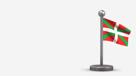 Basque Country 3D waving flag illustration on a tiny metal flagpole. Isolated on white background with space on the left side.
