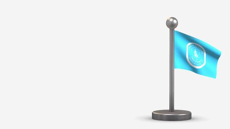Pembrokeshire 3D waving flag illustration on a tiny metal flagpole. Isolated on white background with space on the left side. 스톡 콘텐츠