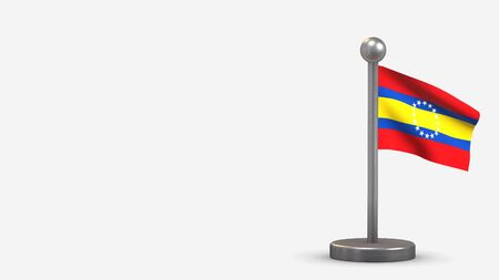 Loja 3D waving flag illustration on a tiny metal flagpole. Isolated on white background with space on the left side. 스톡 콘텐츠
