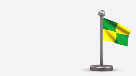 Pastaza 3D waving flag illustration on a tiny metal flagpole. Isolated on white background with space on the left side.
