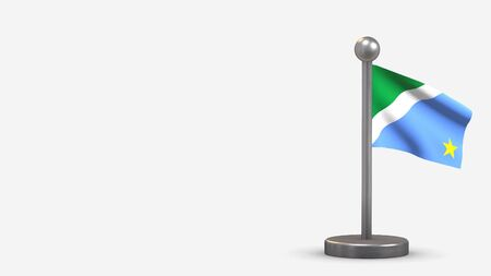 Mato Grosso Do Sul 3D waving flag illustration on a tiny metal flagpole. Isolated on white background with space on the left side.