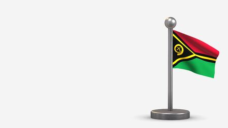 Vanuatu 3D waving flag illustration on a tiny metal flagpole. Isolated on white background with space on the left side.