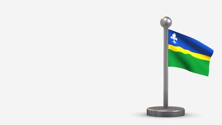 Flevoland 3D waving flag illustration on a tiny metal flagpole. Isolated on white background with space on the left side. 스톡 콘텐츠