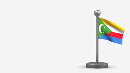 Comores 3D waving flag illustration on a tiny metal flagpole. Isolated on white background with space on the left side. 스톡 콘텐츠