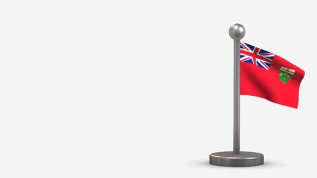 Ontario 3D waving flag illustration on a tiny metal flagpole. Isolated on white background with space on the left side. 스톡 콘텐츠