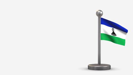 Lesotho 3D waving flag illustration on a tiny metal flagpole. Isolated on white background with space on the left side.