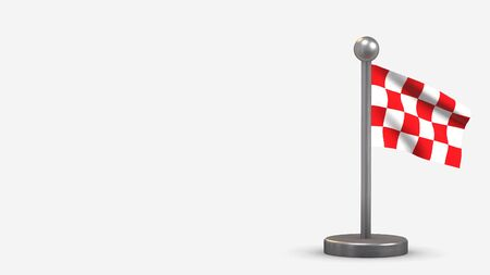 North Brabant 3D waving flag illustration on a tiny metal flagpole. Isolated on white background with space on the left side. 스톡 콘텐츠