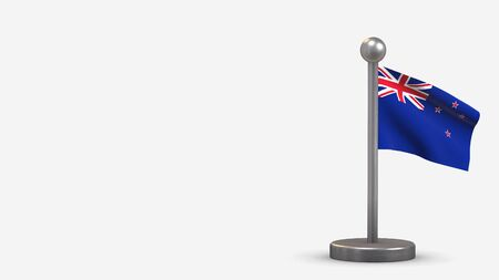 New Zealand 3D waving flag illustration on a tiny metal flagpole. Isolated on white background with space on the left side.