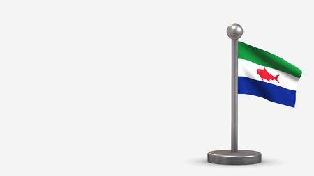 Federal Dependencies 3D waving flag illustration on a tiny metal flagpole. Isolated on white background with space on the left side. 写真素材 - 134954642