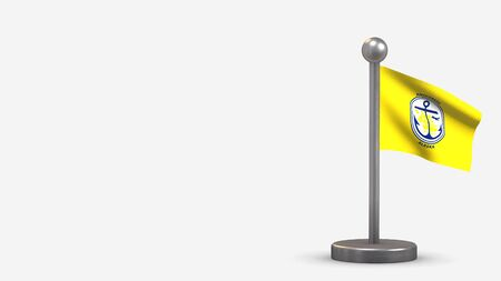 Anchorage Alaska 3D waving flag illustration on a tiny metal flagpole. Isolated on white background with space on the left side. Фото со стока