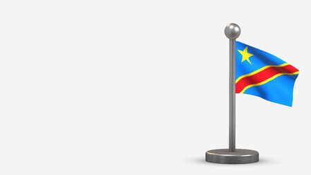 Democratic Republic Of Congo 3D waving flag illustration on a tiny metal flagpole. Isolated on white background with space on the left side. Standard-Bild - 134529326