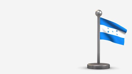 Honduras 3D waving flag illustration on a tiny metal flagpole. Isolated on white background with space on the left side.