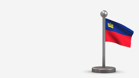 Liechtenstein 3D waving flag illustration on a tiny metal flagpole. Isolated on white background with space on the left side.