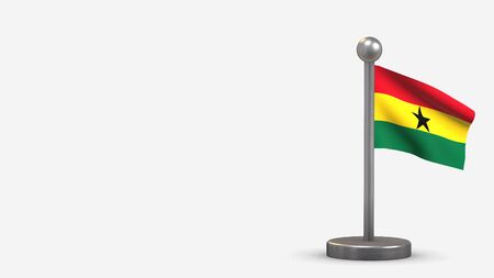 Ghana 3D waving flag illustration on a tiny metal flagpole. Isolated on white background with space on the left side.
