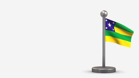 Sergipe 3D waving flag illustration on a tiny metal flagpole. Isolated on white background with space on the left side.  스톡 콘텐츠