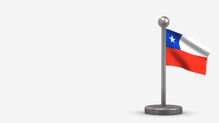 Chile 3D waving flag illustration on a tiny metal flagpole. Isolated on white background with space on the left side.