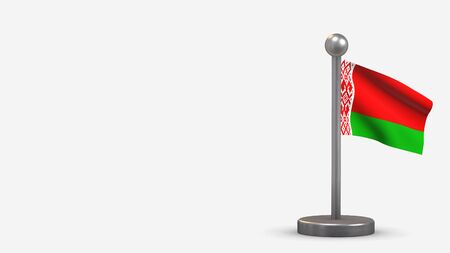 Belarus 3D waving flag illustration on a tiny metal flagpole. Isolated on white background with space on the left side.