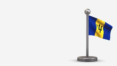 Barbados 3D waving flag illustration on a tiny metal flagpole. Isolated on white background with space on the left side.  스톡 콘텐츠