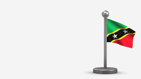 St. Kitts And Nevis 3D waving flag illustration on a tiny metal flagpole. Isolated on white background with space on the left side.  스톡 콘텐츠