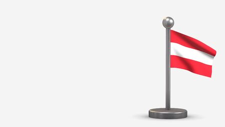 Austria 3D waving flag illustration on a tiny metal flagpole. Isolated on white background with space on the left side.  스톡 콘텐츠