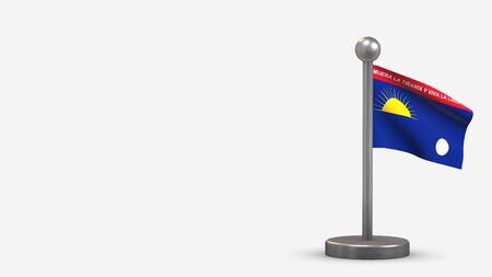 Falcon 3D waving flag illustration on a tiny metal flagpole. Isolated on white background with space on the left side.  스톡 콘텐츠