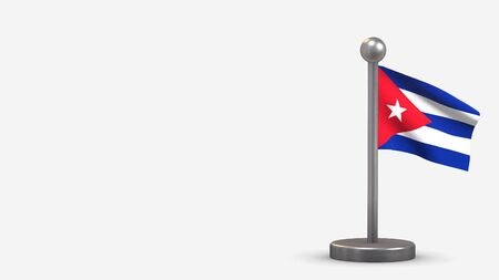 Cuba 3D waving flag illustration on a tiny metal flagpole. Isolated on white background with space on the left side.  스톡 콘텐츠