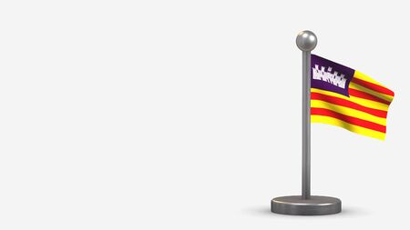 Balearic Islands 3D waving flag illustration on a tiny metal flagpole. Isolated on white background with space on the left side.