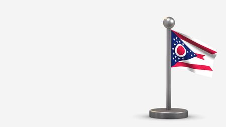 Ohio 3D waving flag illustration on a tiny metal flagpole. Isolated on white background with space on the left side.