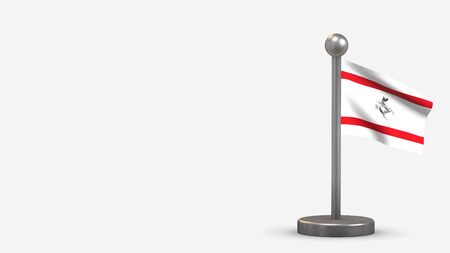 Tuscany 3D waving flag illustration on a tiny metal flagpole. Isolated on white background with space on the left side.  스톡 콘텐츠