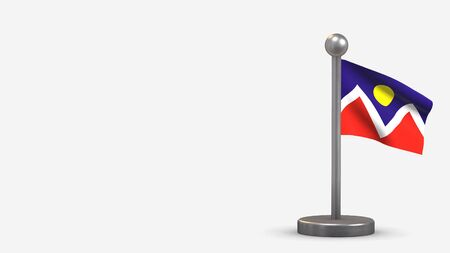Denver Colorado 3D waving flag illustration on a tiny metal flagpole. Isolated on white background with space on the left side.  스톡 콘텐츠