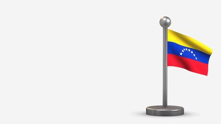 Venezuela 3D waving flag illustration on a tiny metal flagpole. Isolated on white background with space on the left side.