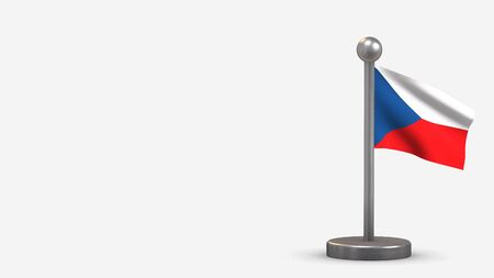 Czech Republic 3D waving flag illustration on a tiny metal flagpole. Isolated on white background with space on the left side.  스톡 콘텐츠