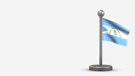 Corrientes 3D waving flag illustration on a tiny metal flagpole. Isolated on white background with space on the left side.