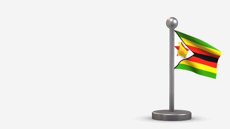 Zimbabwe 3D waving flag illustration on a tiny metal flagpole. Isolated on white background with space on the left side.