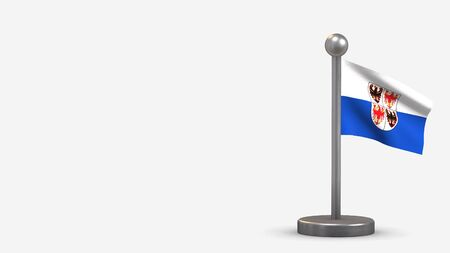 Trentino-South Tyrol 3D waving flag illustration on a tiny metal flagpole. Isolated on white background with space on the left side.