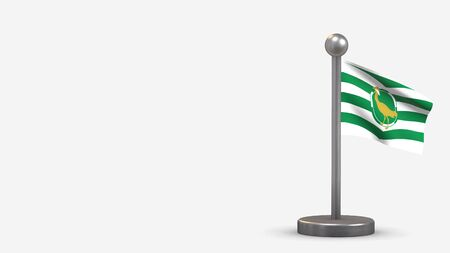 County Wiltshire 3D waving flag illustration on a tiny metal flagpole. Isolated on white background with space on the left side.  스톡 콘텐츠