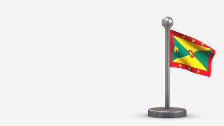 Grenada 3D waving flag illustration on a tiny metal flagpole. Isolated on white background with space on the left side.  스톡 콘텐츠