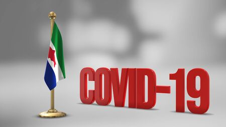 Federal Dependencies Venezuela realistic 3D flag illustration. Red 3D COVID-19 text rendering.