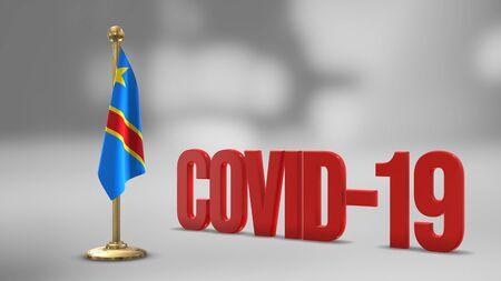 Democratic Republic Of Congo realistic 3D flag illustration. Red 3D COVID-19 text rendering.