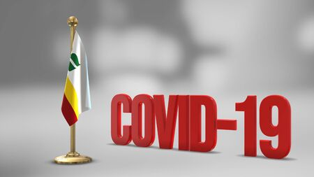 Franco-Manitobains realistic 3D flag illustration. Red 3D COVID-19 text rendering. 写真素材