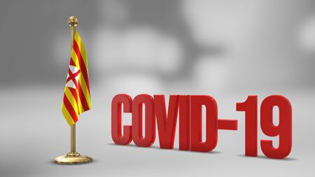Barcelona realistic 3D flag illustration. Red 3D COVID-19 text rendering.
