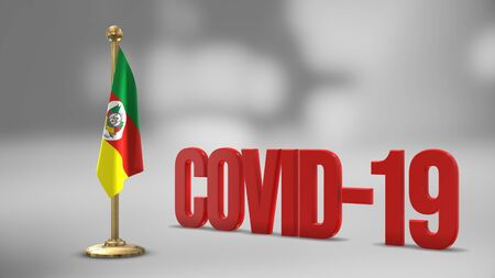 Rio Grande Do Sul realistic 3D flag illustration. Red 3D COVID-19 text rendering. 写真素材 - 146789373