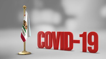 California realistic 3D flag illustration. Red 3D COVID-19 text rendering. 写真素材